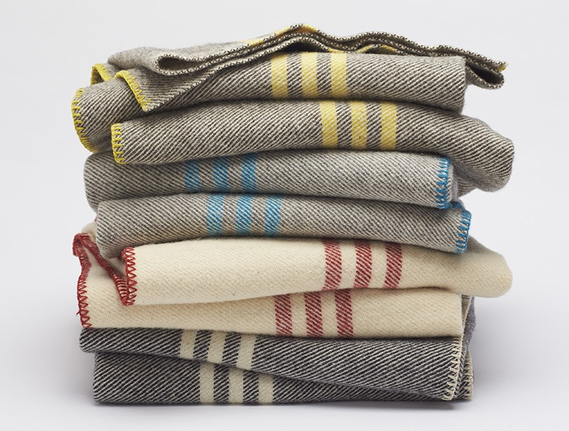 Striped Wool Blanket 100 Natural Free Shipping