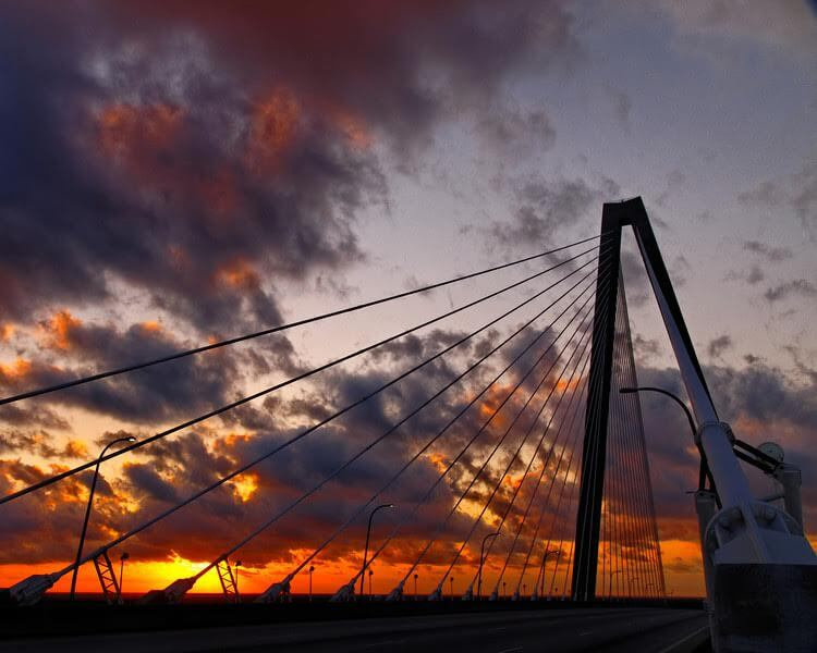 ravenel bridge south carolina sun rise