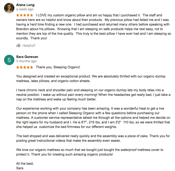 Google Reviews for Sleeping Organic